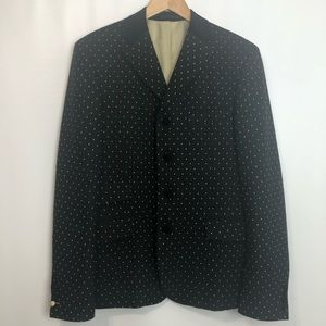 Haight & Ashbury black polkadot lined blazer 44R